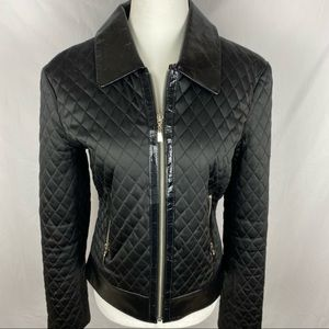 Caché Black Quilted Leather Jacket Zip Up NWOT
